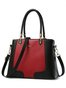 Metal Color Block PU Leather Tote - Red With Black