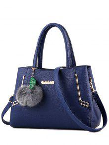 Buy Metal PU Leather Pom Tote - BLUE