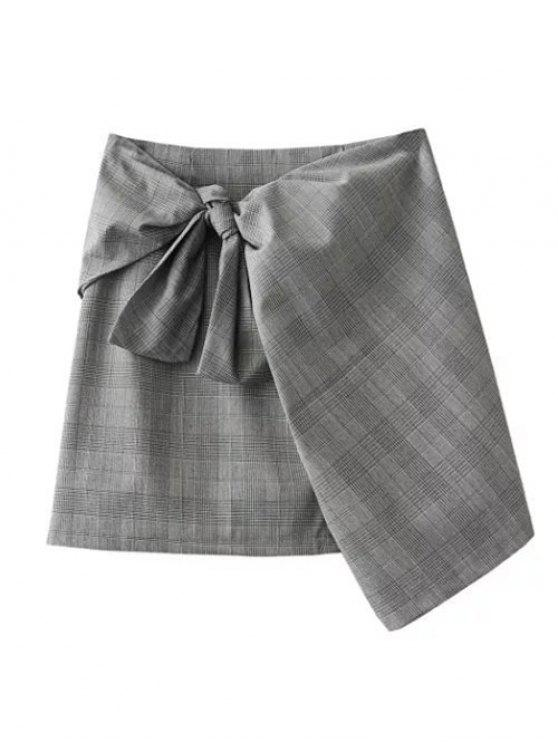 women Plaid Mini Wrap Skirt - GRAY M