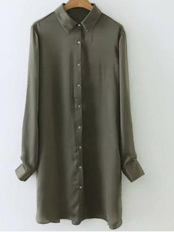 outfits Silky Embroidered Back Satin Shirt - ARMY GREEN S
