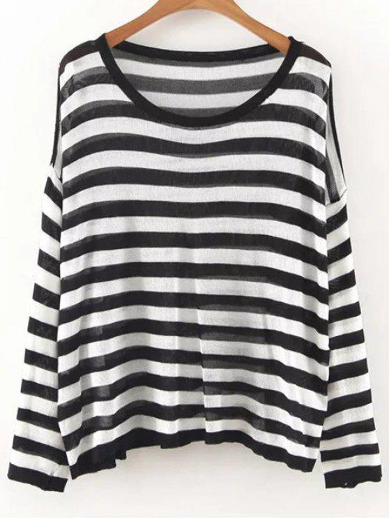 9ffdb78ee0 34% OFF  2019 Oversized Striped Knit Jumper In WHITE AND BLACK ONE ...