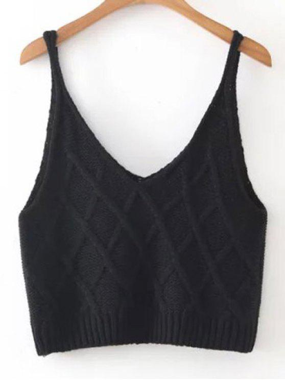 hot Checked Knitted Cami Top - BLACK ONE SIZE