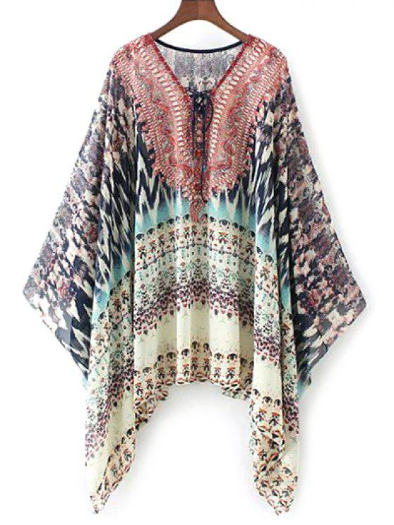 shops Lace Up Printed Chiffon Poncho Top - RED M