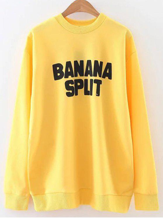 outfits Crewneck Graphic Sweatshirt - YELLOW L