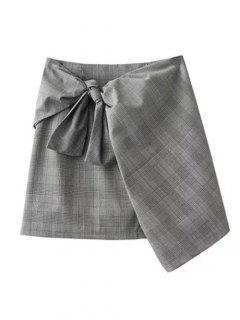 Mini Jupe Enveloppante à Carreaux Avec Noeud Devant - Gris L