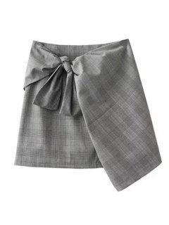 Plaid Mini Wrap Skirt - Gray M