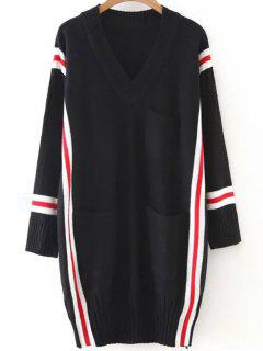 Striped Oversized Long Sweater - Black