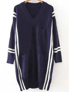 Striped Oversized Long Sweater - Cadetblue