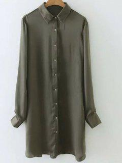 Silky Embroidered Back Satin Shirt - Army Green S