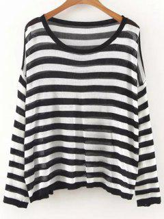Oversized Striped Knit Jumper - White And Black