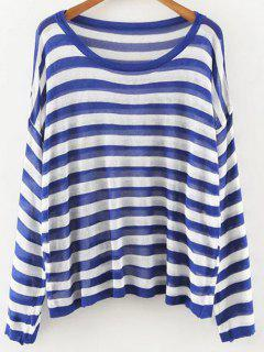 Oversized Striped Knit Jumper - Blue And White