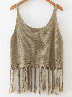 Fringed Knitted Tank Top - Green