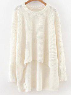 Pull Haut Bas épaule Tombante - Blanc