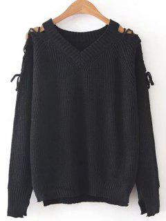 Step Hem Split Sleeve Jumper - Black