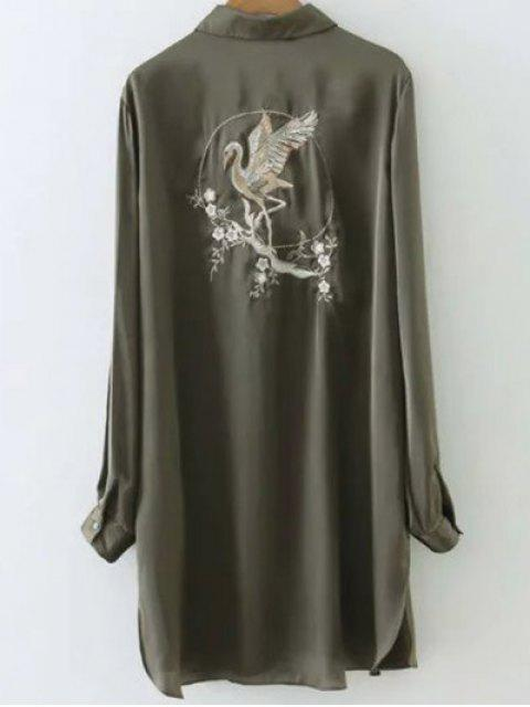 outfits Silky Embroidered Back Satin Shirt - ARMY GREEN S Mobile