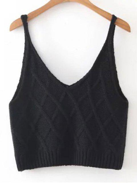 hot Checked Knitted Cami Top - BLACK ONE SIZE Mobile