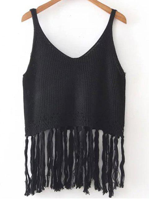 fashion Fringed Knitted Tank Top - BLACK ONE SIZE Mobile