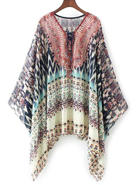 shops Lace Up Printed Chiffon Poncho Top - RED M Mobile