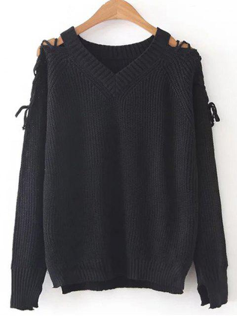 trendy Step Hem Split Sleeve Jumper - BLACK ONE SIZE Mobile
