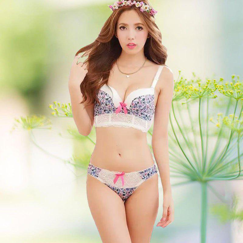 Floral Push Up Bra Set with Lace 196944508