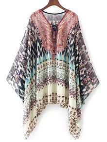 Lace Up Printed Chiffon Poncho Top - Red M