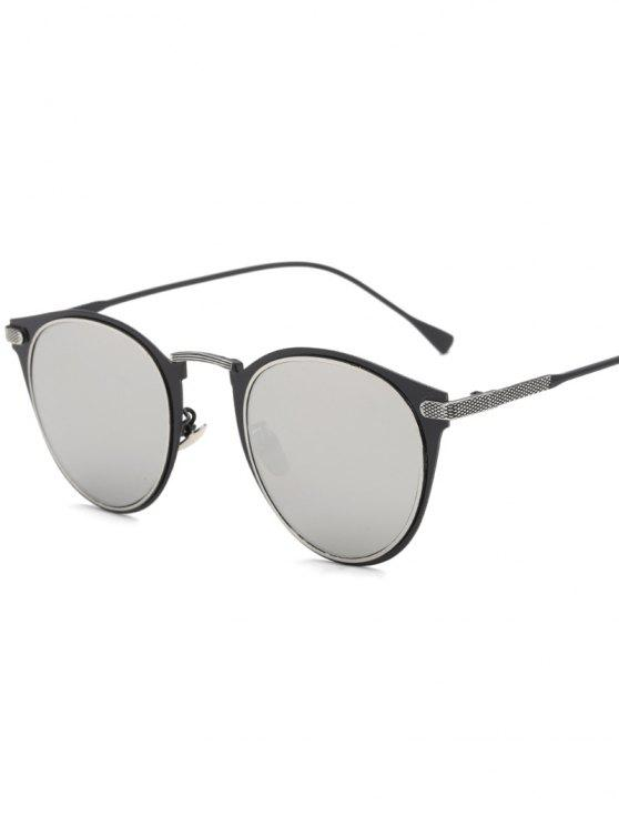 affordable Metal Cat Eye Mirrored Sunglasses - SILVER