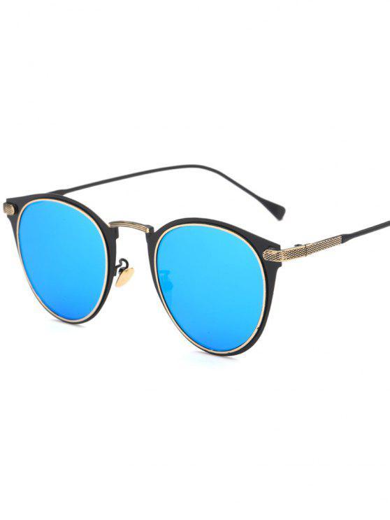 De metal del ojo de gato gafas de sol espejadas - Azul Hielo