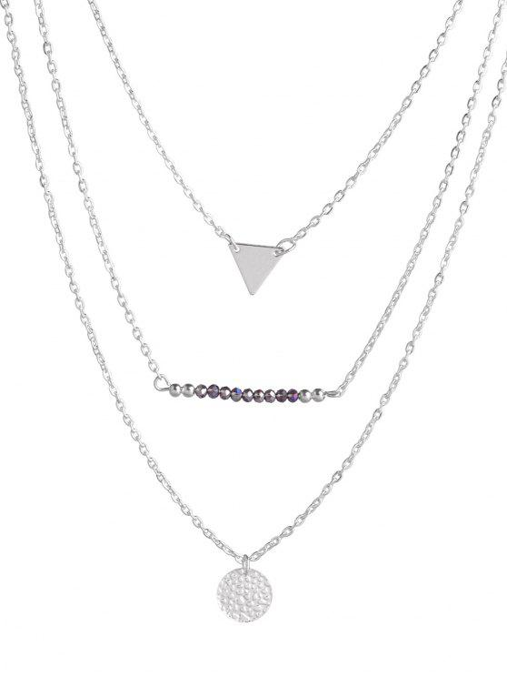 hot Coin Triangle Beads Layered Necklace - SILVER