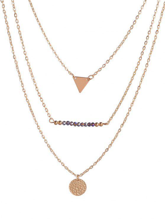 عملة مثلث الخرز الطبقات قلادة - ذهبي