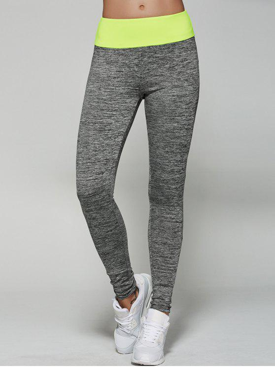 outfits Space Dyed Color Spliced Leggings - NEON GREEN M