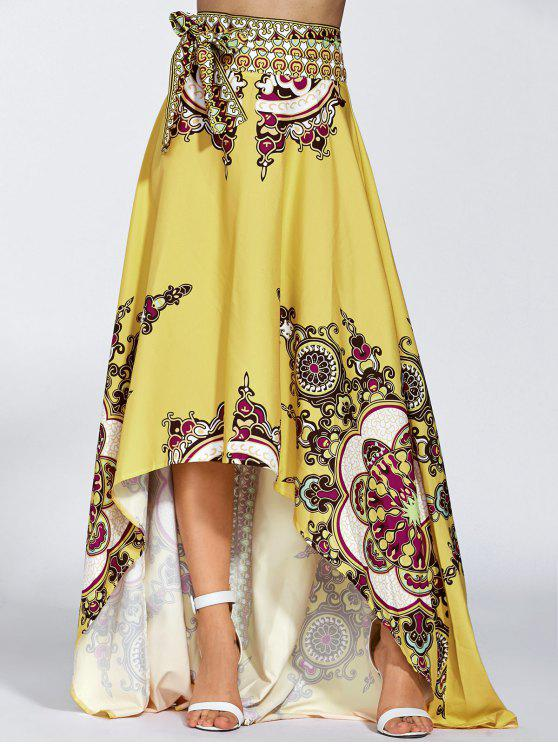 outfit High Low Pint Skirt - YELLOW S