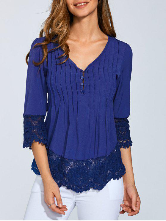 affordable Scalloped Lace Splicing Blouse - BLUE L