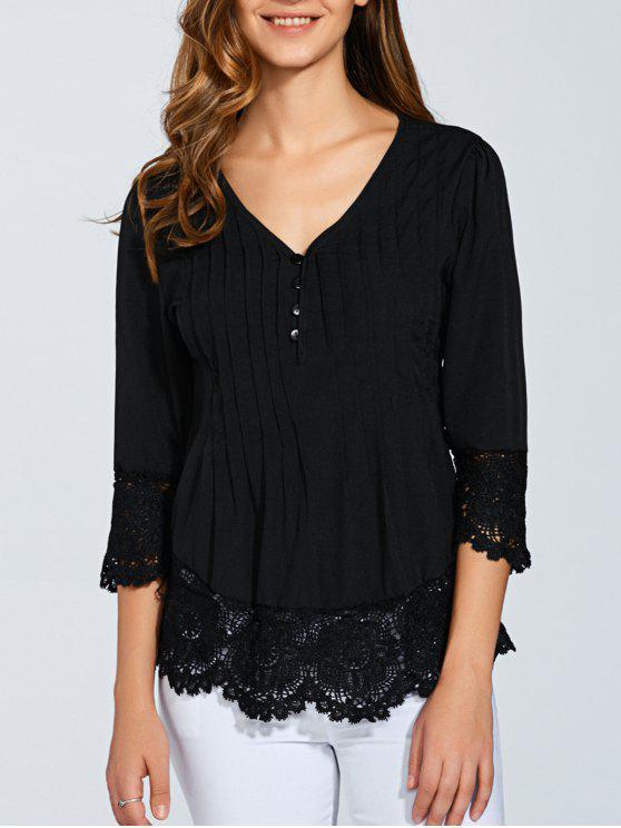 women Scalloped Lace Splicing Blouse - BLACK XL