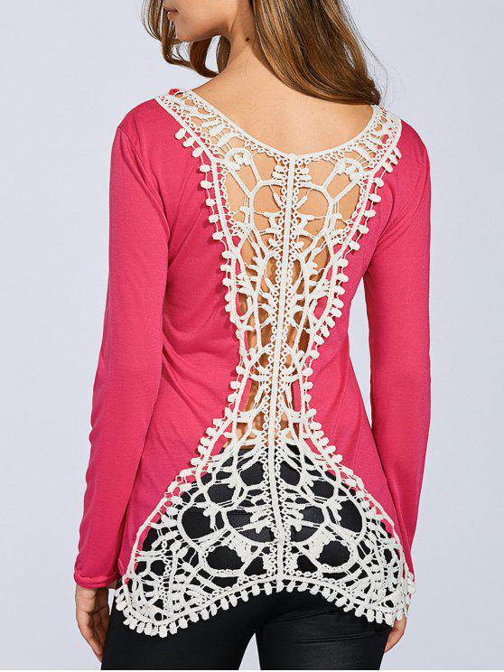 Enganche de la manga de la flor empalmado camiseta larga - Rosa Roja M