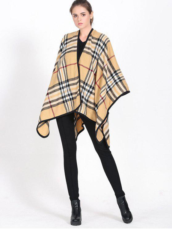 Borde de la tela escocesa cubierta Wrap Pashmina - CaquiClaro