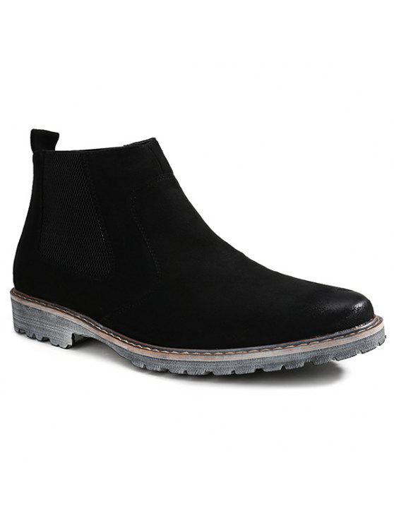 خمر الانزلاق على جلد الغزال أحذية الكاحل - أسود 42
