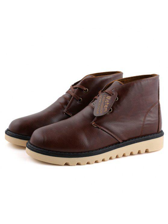 بريبي خياطة بو الجلود الأحذية قصيرة - BROWN 44