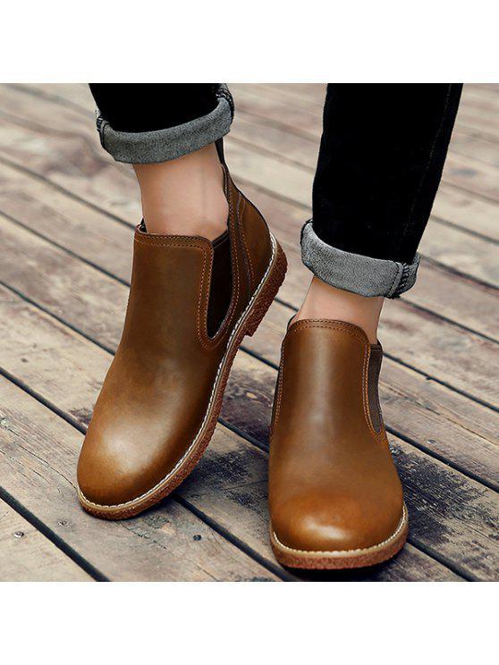 الانزلاق على خياطة بو الجلود أحذية الكاحل - BROWN 42