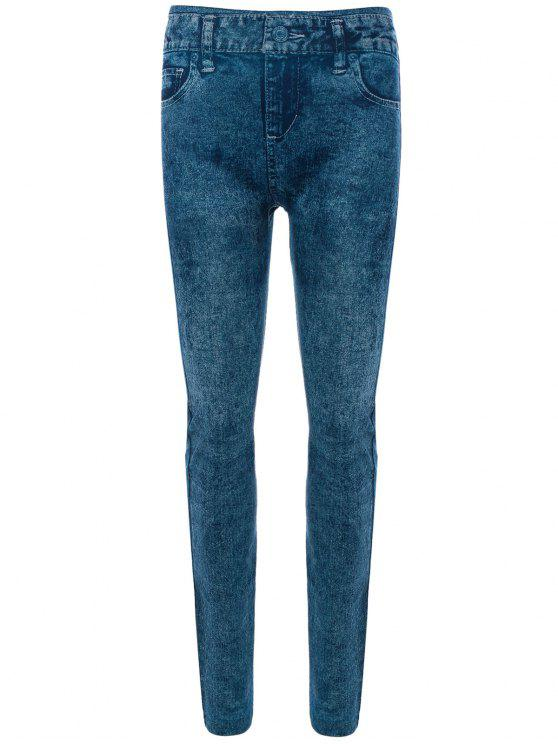 affordable Skinny Jeggings Faux Jean Leggings - BLUE ONE SIZE