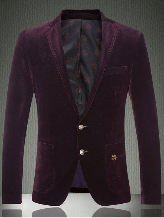 sale Embroidered Patch Pocket Single Breasted Corduroy Blazer - PURPLISH RED M