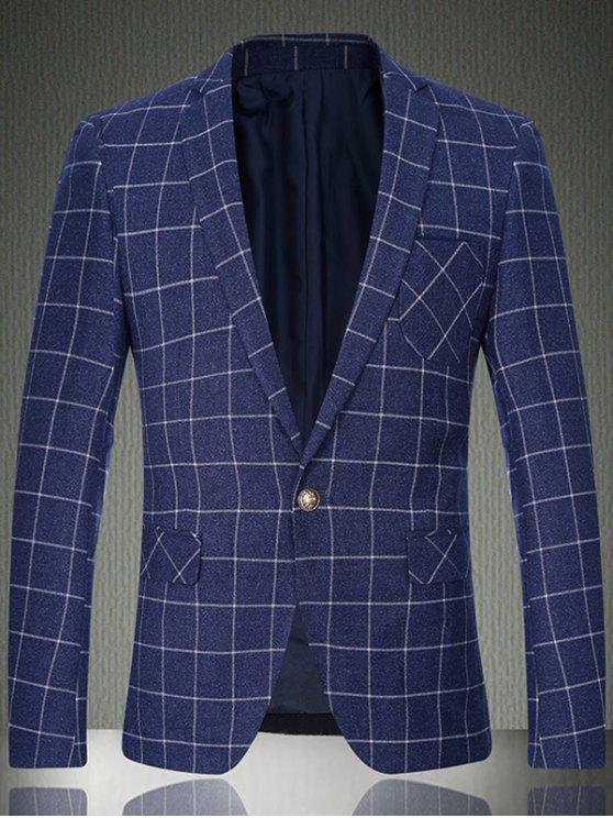 outfit Breast Pocket Sleeve Buttons Grid One-Button Blazer - LIGHT BLUE M
