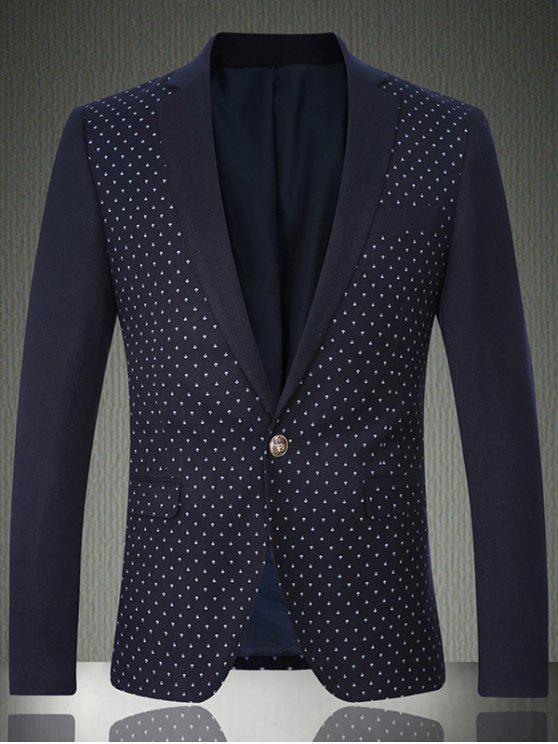 fashion Breast Pocket Notch Lapel Printed One-Button Blazer - CADETBLUE XL