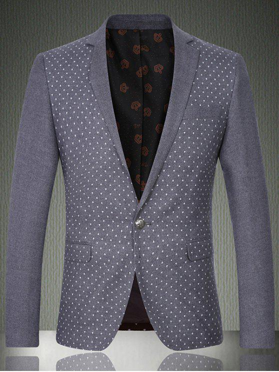 lady Breast Pocket Notch Lapel Printed One-Button Blazer - GRAY 2XL