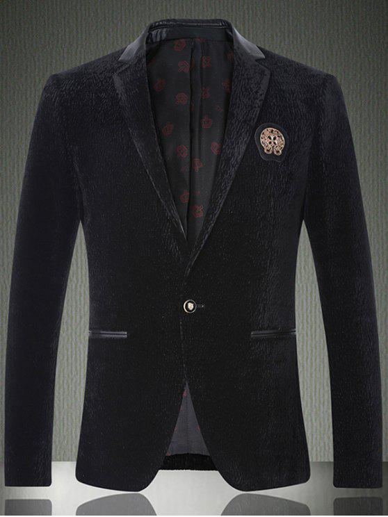 women Faux Leather Insert Notch Lapel Texture One-Button Blazer - BLACK L