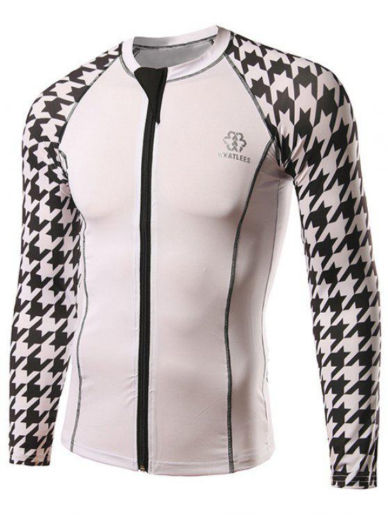 c129e1e58 2019 Active Houndstooth Raglan Long Sleeve Cycling Jerseys In WHITE ...