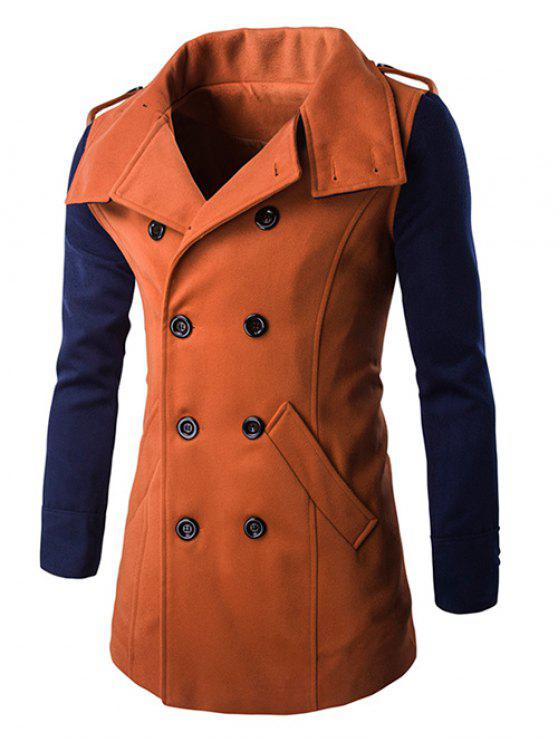 sale Turn-Down Collar Color Block Pea Coat - ORANGE L