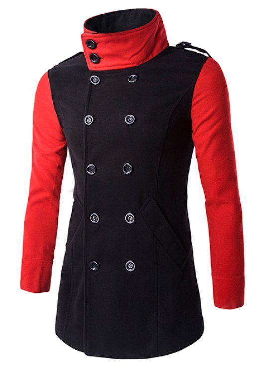 معطف الصوف مزدوجة الصدر بدوره إلى أسفل طوق كتلة اللون الربط - أسود 3XL