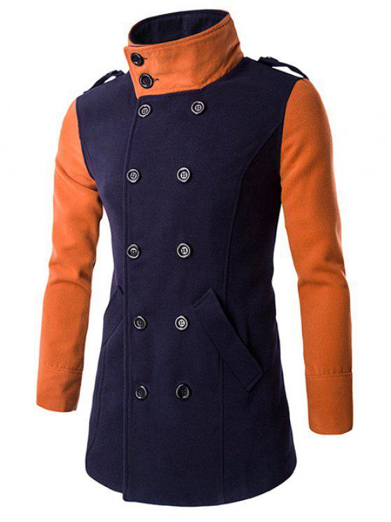 معطف الصوف مزدوجة الصدر بدوره إلى أسفل طوق كتلة اللون الربط - طالبا الأزرق XL
