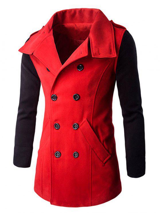 lady Turn-Down Collar Color Block Pea Coat - RED M