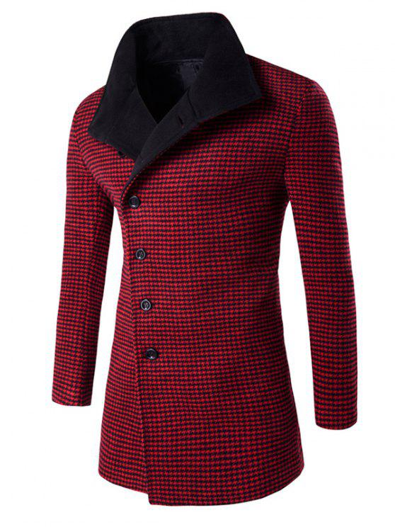 outfit Single-Breasted Houndstooth Pattern Woolen Coat - RED M